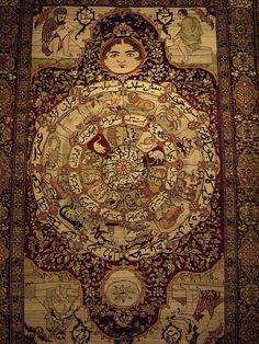 Incredible, reminiscent of an astrological chart. Persian rug from the Tehran - Carpet Museum.