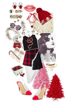 """Red And White Christmas"" by prettyroses ❤ liked on Polyvore featuring National Tree Company, Disney, Boohoo, Maison Margiela, House of Holland, Threshold, Betsey Johnson, Shea's Wildflower Company, Artland and 1st & Gorgeous by Carolee"