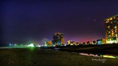 """""""The sky grew darker, painted blue on blue, one stroke at a time, into deeper and deeper shades of night at the beach.""""#MyrtleBeach #GranStrand #Pier #SkyWheel #NightSkies Credits to Robbie Bischoff Photography"""