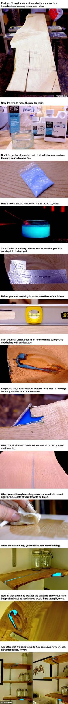 DIY Wood Working projects: DIY Awesome Glowing Shelves Are Easy To Make! - 9G...