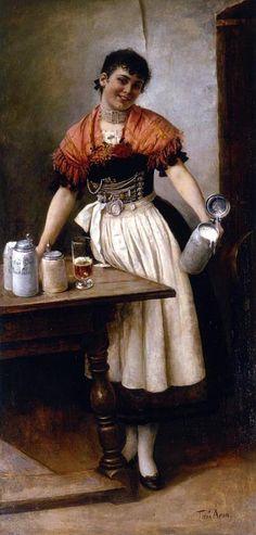 """""""Die schöne Coletta"""" von Toni Aron,  1885    (Coletta Möritz arbeitete im Sterneckerbräu in München als Kellnerin)"""