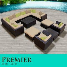 "Premier Modern 16 Piece Outdoor Wicker Patio Sofa Sectional Furniture All Weather Set 16B by TK Classics. $2766.00. Strong and rust resistant Powder Coated Aluminum Frame for maximum durability. High Density PE (polyethylene) recyclable wicker - NOT made with PVC which is toxic and non-recyclable. ""No Sag"" solid wicker bottoms with extra flexible strapping providing long-lasting suspension. Affordable and comfortable Modular Furniture allows for endless arrangement poss..."