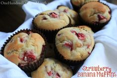 Strawberry Banana Muffins: These had good flavor, but I didn't like the strawberry and banana chunks.  Maybe blend them next time?  Or at least mash the bananas.