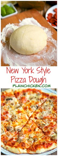 New York Style Pizza Dough Recipe - only 4 ingredients to make the best pizza dough - this dough is so easy to work with! Make the dough and refrigerate until ready to use. Can make up to 3 or 4 days in advance. Come get tips to make THE BEST pizza! Think Food, Love Food, New York Style Pizza Dough Recipe, Best New York Pizza Dough Recipe, Pizza Dough Recipe In Grams, Tasty Vegetarian, Pizza Recipes, Cooking Recipes, Cake Recipes