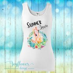 flamingo - divatos fazonú feliratos női trikó vízfesték hatású grafikával gyönyörű nyárias színekben Summer Of Love, Summer Time, Graphic Tank, Spandex, Tank Tops, Design, Women, Fashion, Moda