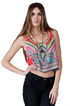 Take a Little Trip Crop Top - Red + Multi
