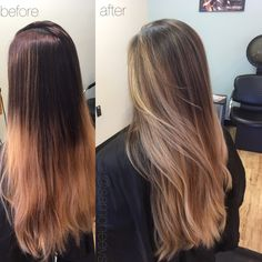 Before and after // sandy warm honey golden blonde and brown balayage ombré for black and dark brown hair types