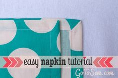 How to sew cloth napkins with an easy mitered corner | Sewtorial