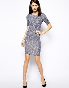 Image 4 of Warehouse Dotty Bird Print Dress