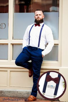 Do you need the perfect bow tie and suspender for your groomsmen? We have a large range of colors and styles to match perfectly with your wine and navy bridesmaid dresses. #winebowtie #navywedding #bowtieandsuspenders #weddingaccessories #weddingattire #groomsmen #weddingplanning Groomsmen Outfits, Groom And Groomsmen Attire, Navy Bow Tie, Suspender Clips, Groom Ties, Leather Suspenders, Designer Bridesmaid Dresses, Bridesmaid Inspiration, Beach Attire