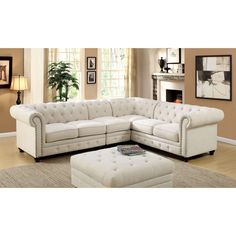 Furniture of America Sylvana Traditional Tufted Linen-like Sectional (Ivory), Beige Off-White (Fabric)