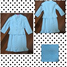 Vintage Daisy Cutie! Absolutely adorable skirt suit with In a daisy embroidered pattern.  Flounced skirt with fitted jacket!  Petite size.  Powder blue. Maggy London Skirts Midi