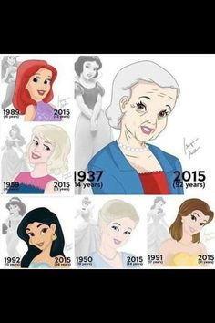 Disney princesses then and now.