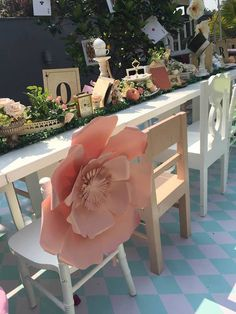 Oversized flower from Vintage Alice in Wonderland Birthday Party at Kara's Party…