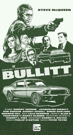 Actor Steve McQueen with the famed 1968 Ford Mustang 390 Fastback in a movie poster for the cult film Bullitt. Mustang Fastback, Mustang Cars, Ford Mustang Gt, Bullitt Movie, Steve Mcqueen Bullitt, Steve Mcqueen Movies, Vintage Movies, Vintage Posters, Berlin Alexanderplatz