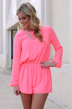 Neon Pink Romper   UOIonline.com: Women's Clothing Boutique