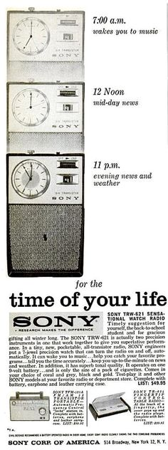 MAKE MINE TRANSISTOR!: In 1961, electronics companies were really pushing transistor radios on the American public. The Sony Corporation, in particular, frequently extolled the virtues of transistor radio listening. This nifty ad appeared in the pages of EBONY magazine in 1961. Transistor radio technology was still relatively new, and people loved the notion of not having to carry around a big, bulky tabletop radio. Believe it or not, they were the iPods of their day!