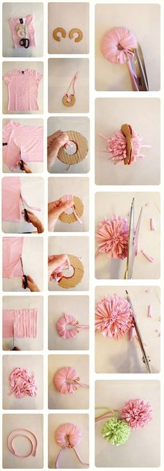 Cats Toys Ideas - mint suitcase: Come Fare un Pom Pom di una Maglietta Riciclata How to Make a Pom Pom with a Recycled T-shirt - Ideal toys for small cats Kids Crafts, Diy And Crafts, Craft Projects, Arts And Crafts, Diy Cat Toys, Pom Pom Crafts, Yarn Crafts, Fabric Flowers, Paper Flowers