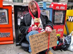 Homeless man and his cat