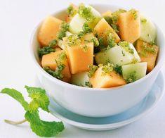 Recette d'entrée facile : Salade aux deux melons et granité de menthe