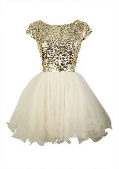 Cap Sleeve Sequin and Tulle Dress (... and then alternated with gold sparkles on bottom with cream on top?)