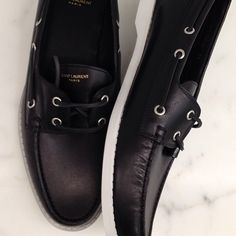Saint Laurent black boat shoes
