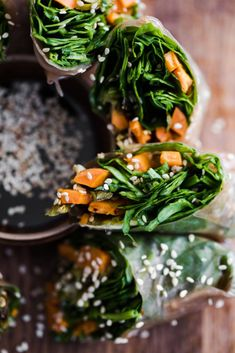 Roasted Sweet Potato Spring Rolls with Spinach (Naturally Ella) Sweet Potato Rice, Sweet Potato Recipes, Baked Potato, Heart Healthy Recipes, Vegetarian Recipes, Vegetarian Cookbook, Healthy Sides, Healthy Foods, Healthy Eating