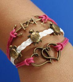 Bronze Anchor Bracelet Heart To Heart Bracelet Longevity Turtle Bracelet Rose Red Wax Cord White Braided Leather Bracelet. $5.09, via Etsy.