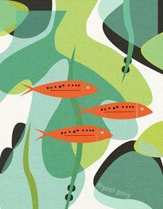 aquarium LARGE mid century design art print by poolponydesign, $70.00