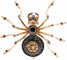Estate Jewelry:Brooches - Pins, Sapphire, Diamond, Ruby, Silver, Gold Brooch, Russian. The brooch,designed as a spider, features a round-cut sapphire mea... (Total:1 )