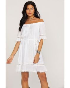 76f544fa Wrangler Women's Ruffle Peasant Lace Inset Off Shoulder Dress Cowgirl  Style, Hemline, Ruffles,