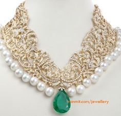 Jewels by Annu Chadha adorns the city of pearls Hyderabad nice shape Emerald Jewelry, Pearl Jewelry, Wedding Jewelry, Antique Jewelry, Gold Jewelry, Diamond Jewelry, Fine Jewelry, Pearl Necklace, Pearl Choker