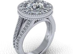 CAD CAM design model made for a new bride ! White gold and very vintage !
