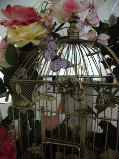 nisha has lots of these birdcages and I can get those butterflies to stick on