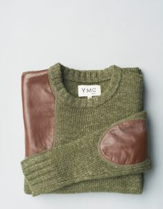 Olive/sage sweater with Leather panels