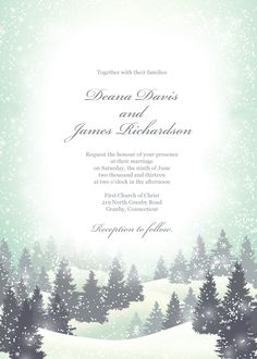 Winter wonderland wedding invitation template. Can also be used as any greeting card because the texts are editable.
