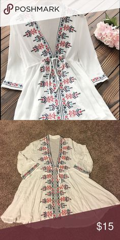 Cupshe Going Crazy Embroidered Tunic Top One size but fits like small. Never worn Cupshe Swim Coverups