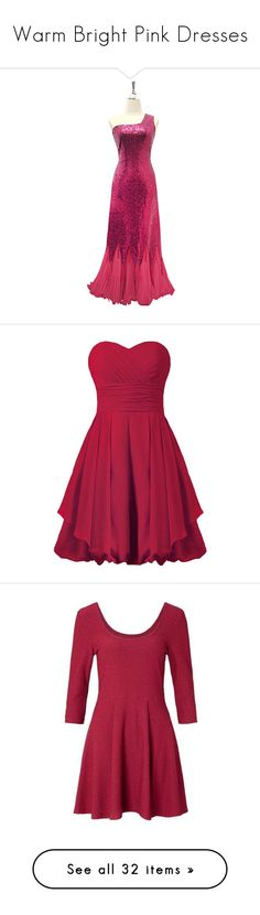 """""""Warm Bright Pink Dresses"""" by tegan-b-riley on Polyvore featuring dresses, ruffled dresses, long ruffle dress, beaded dresses, red sequin dress, long red dress, short dresses, purple cocktail dresses, purple dresses and bridesmaid cocktail dresses"""