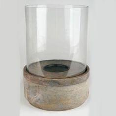 Stilvolles Glas Holz Windlicht