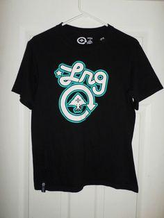 Men's Black, Aqua Blue, White LRG Large Logo Short Sleeve Shirt, Size S, GUC! #LRGLIFTEDRESEARCHGROUP #CrewNeck