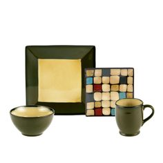 Square Green Dots 32 Piece Dinnerware Set