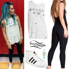 Halsey posed with fans in Louisville yesterday wearing the Forever 21 Splatter Print Muscle Tee ($12.90) over an American Apparel Cotton Spandex Jersey Unitard ($38.00); her American Apparel Mint Pastel Leather Quartz Wristwatch ($34.00) and a pair of Adidas Originals Superstar Up Shoes ($90.00).