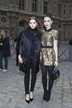 Habitually Chic®: Winning Combination  Elizabeth Olsen and Lily Collins in Louis Vuitton at Paris Fashion Week