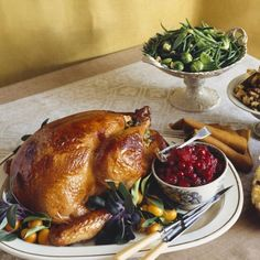 Good Thanksgiving Roasts: Orange and Sage Turkey with Cranberry-Pear Relish Classic Thanksgiving Turkey Recipe, Thanksgiving Turkey Dinner, Thanksgiving Side Dishes, Thanksgiving Recipes, Holiday Recipes, Thanksgiving 2017, Pear Relish, Brunch, Turkey Gravy