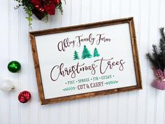 Personalized Christmas Trees Sign, Christmas Family Sign, Family Name Christmas Decor, Last Name Sig Source by etsy - Fresh Cut Christmas Trees, Christmas Tree Painting, Christmas Tree Farm, Modern Christmas, Christmas Signs, Family Christmas, Christmas Decorations, Rustic Outdoor Decor, Rustic Bathroom Decor