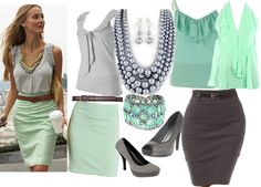 Seafoam Grey Pencil Skirt Fashion Style Board.  Love this combo. I would never put them together, so this is a great style idea.