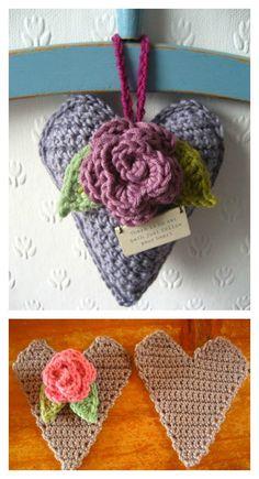 Crochet Rose Heart Free Pattern