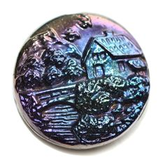 Button / Glass Black  / Pictorial  / Old  / Small by KPHoppe on Etsy