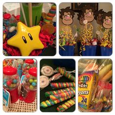 Wreck it Ralph party favors and center pieces.