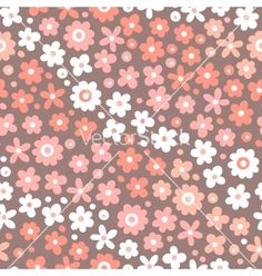 Seamless pattern with cute flowers vector - by Baksiabat on VectorStock®